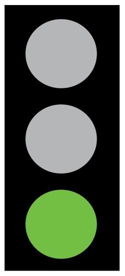 Green means go if the way us clear. Take extra care if you intend to turn left or right, and give way to pedestrians who are crossing