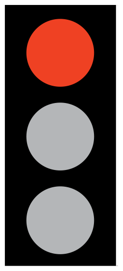 Red means stop. Wait behind the stop line on the carriageway until green shows